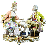 Vintage Hand Painted Capodimonte Porcelain Figurine Set – Drinking Tea – Italy 20th Century