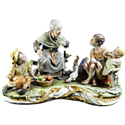 Vintage Hand Painted Capodimonte Porcelain Figurine Set – There Was a Time – Italy 20th Century