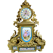 Antique Mantle Clock – Gold Gilded Bronze and Ormolu – Sevres Style Porcelain Plaques – France 19th Century