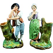 Antique Pair of Hand Painted Jacob Petite Porcelain Figurines – France 19th Century