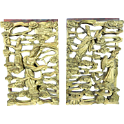 Vintage Chinese Hand Carved Gold Gilded and Lacquered Wood Panel – China 20th Century