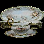 Vintage Hand Painted Limoges Porcelain Fish Serving Set – France 20th Century