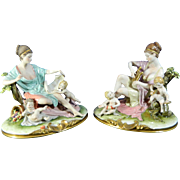 Vintage Pair of Hand Painted Capodimonte Porcelain Statues – Italy 20th Century