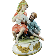 Vintage Hand Painted Capodimonte Porcelain Figurine Set - Courtship – Italy 20th Century