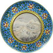 Vintage Chinese Hand Painted Alabaster Decorative Plate in a Cloisonné Frame – China 20th Century