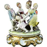 Vintage Hand Painted Capodimonte Porcelain Figurine Set – Children's Playground – Italy 20th Century
