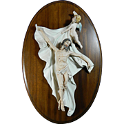 Vintage Hand Painted Capodimonte Style Porcelain Plaque – The Resurrection of Christ – Italy 20th Century