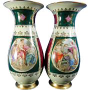 Vintage Pair of Hand Painted Royal Vienna Style Porcelain Flower Vases – Austria 20th Century