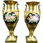 Antique Pair of Hand Painted Dresden Porcelain Vases – Germany 19th Century