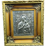 Vintage Silver Plated Framed Plaque of The Virgin Mary and Baby Jesus – Mexico 20th Century