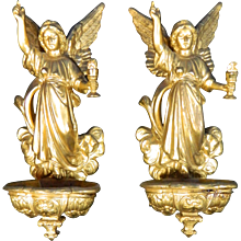 Antique Pair of Gold Gilded Bronze or Ormolu Attach Stack or Beniters – France 19th Century