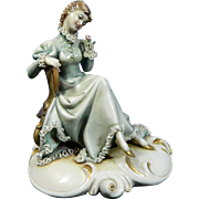Vintage Hand Painted Borsato Porcelain Figurine of a Seated Lady – Reverie – Italy 20th Century