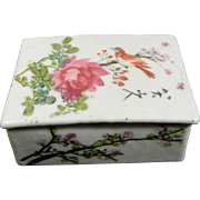 Vintage Chinese Hand Painted Porcelain Ink Box – China 20th Century