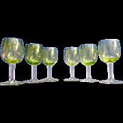 Vintage Set of 6 Green Baccarat Style Liquor Glasses – France 20th Century
