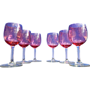 Vintage Set of 6 Red Baccarat Style Liquor Glasses – France 20th Century
