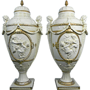 Antique Pair of Parian or Biscuit Gold Gilded Urns – Germany Late 19th Century