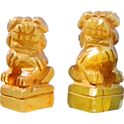 Vintage Chinese Pair of Miniature Hand Carved Foo Dogs – China 20th Century