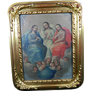 Antique Framed Oil Painting of the Holy Trinity / Images of Christ – Mexico 19th Century