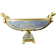 Vintage Cut Crystal Fruit Bowl with Gold Gilded Stand and Handles – France 20th Century