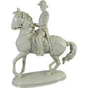Vintage White Royal Vienna Porcelain Figurine of an Officer on a Horse – Austria 20th Century
