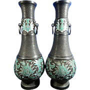 Antique Pair of Chinese Bronze Vases or Urns with Cloisonné Appliques – China 19th Century