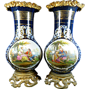 Antique Set of Two Hand Painted Porcelain Flower Vases Old Paris or Sevres Style with Gold Gilded Bronze Mounts – France 19th Century