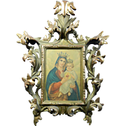 Antique Mexican Hand Carved Wood Florentine Style Frame with Print of Virgin Mary and Baby Jesus – Mexico 19th Century
