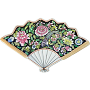 Vintage Chinese Hand Painted Porcelain Tray in the Shape of a Fan – Mille Fleur Famille Noir Style – China 20th Century