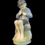 Vintage Hand Painted Royal Copenhagen Porcelain Figurine – Fisher Boy – Denmark 20th Century
