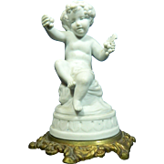 Vintage White Parian Biscuit Porcelain Figurine of a Boy – Bronze Stand – France 20th Century