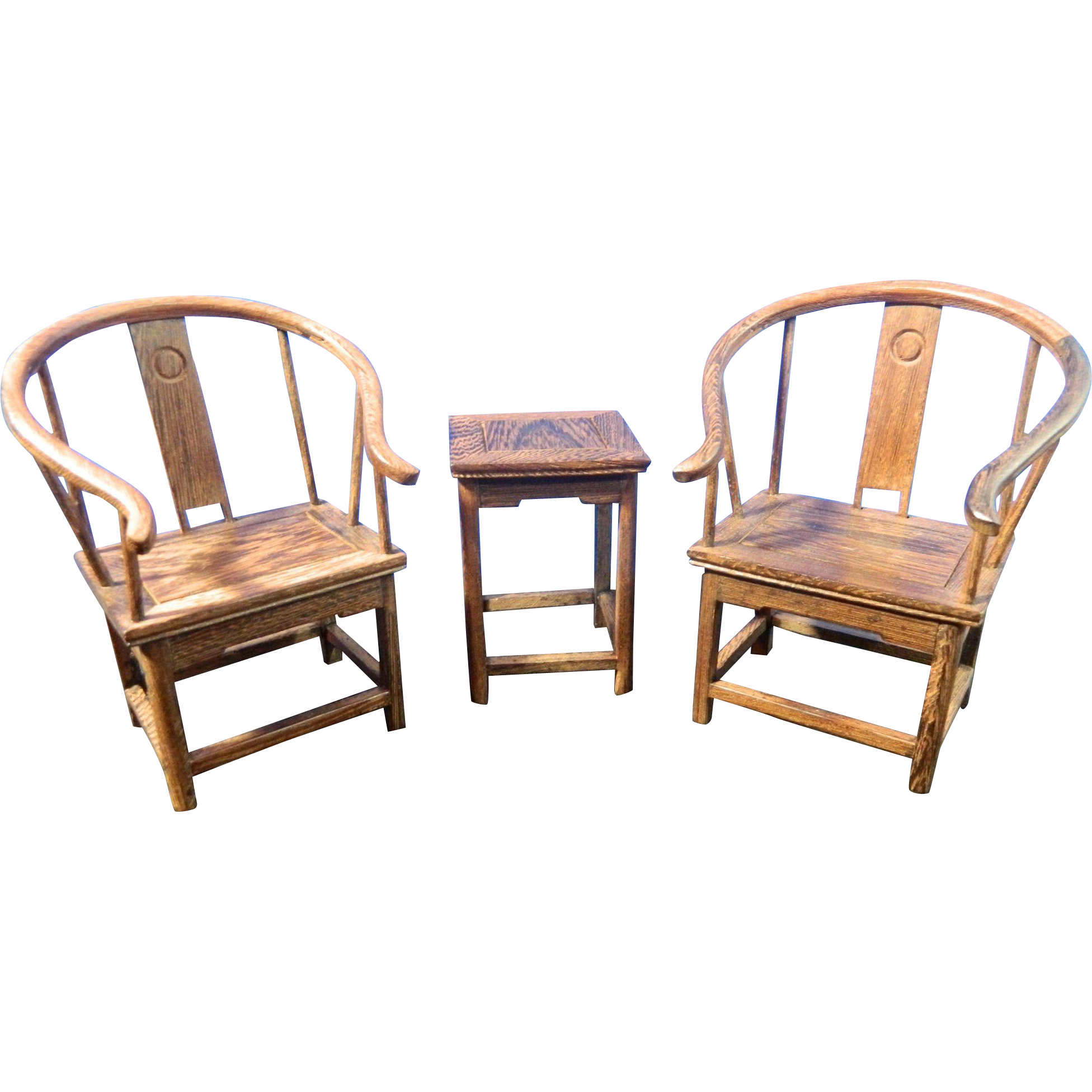 Vintage Chinese Hand Carved Wood Miniature Furniture Set 2 Chairs And From Little Shop Of