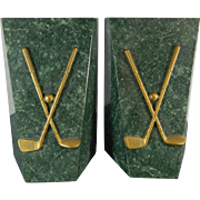 Vintage Pair of Green Marble Bookends – Golf Clubs – Italy 20th Century