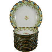 Vintage Hand Painted Limoges Porcelain Dessert Set for 12 People – France 20th Century