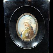 Antique Framed Miniature Painting – Portrait of Louis XVI – France 19th Century