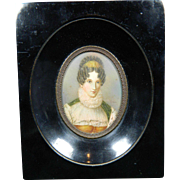 Antique Framed Miniature Painting Portrait of Queen Marie Amelia Wife of Louis Philippe France 19th Century