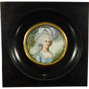 Antique Framed Miniature Painting – Portrait of Marie Antoinette – France 19th Century