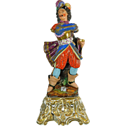Antique Hand Painted Old Paris Style Porcelain Statue of a Musketeer – France 19th Century