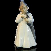 Vintage Hand Painted Royal Copenhagen Porcelain Figurine – Boy with Umbrella – Denmark 20th Century