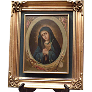 Antique Oil Painting on A Zinc Plaque of our Mother of Sorrows – Mexico 19th Century