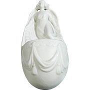 Vintage White Parian or Biscuit Porcelain Holy Water Font – France 20th Century