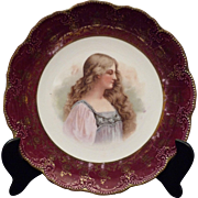 Vintage Commemorative Porcelain Plate Decorated with the Face of a Woman – USA 20th Century