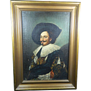 Antique Framed Oil Painting of a Smiling Gentleman – Copy of Franz Hals – Europe 19th Century