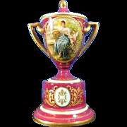 Antique Hand Painted Royal Vienna Porcelain Miniature Urn – Austria 19th Century