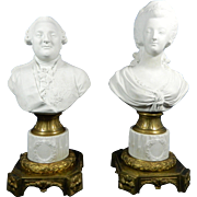 Antique Pair of Biscuit or Parian Sevres Busts of Louis XVI and Marie Antoinette – France 19th Century