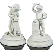 Antique Pair of Biscuit or Parian Volkstedt Porcelain Figurine – Cherubs Forging – Germany 19th Century