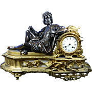Antique Japy Freres Empire Style Mantle Clock Made of Bronze, Ormolu and Alabaster – France 19th Century