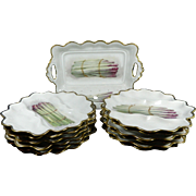 Old Hand Painted Limoges Porcelain Asparagus Serving Set for 12 People – France 20th Century