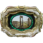 Antique Grand Tour Framed Micro Mosaic or Pietra Dura Plaque Surrounded by a Malachite Frame – Italy 19th Century
