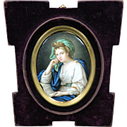 Antique KPM Style Angelica Kauffman Hand Painted Porcelain Plaque – Europe 19th Century
