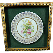 Vintage Hand Painted Porcelain Framed Plate – Europe 20th Century